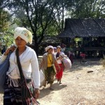 In this file photo, displaced Karen villagers are forced to uproot their lives and move because of conflict. (PHOTO: DVB)